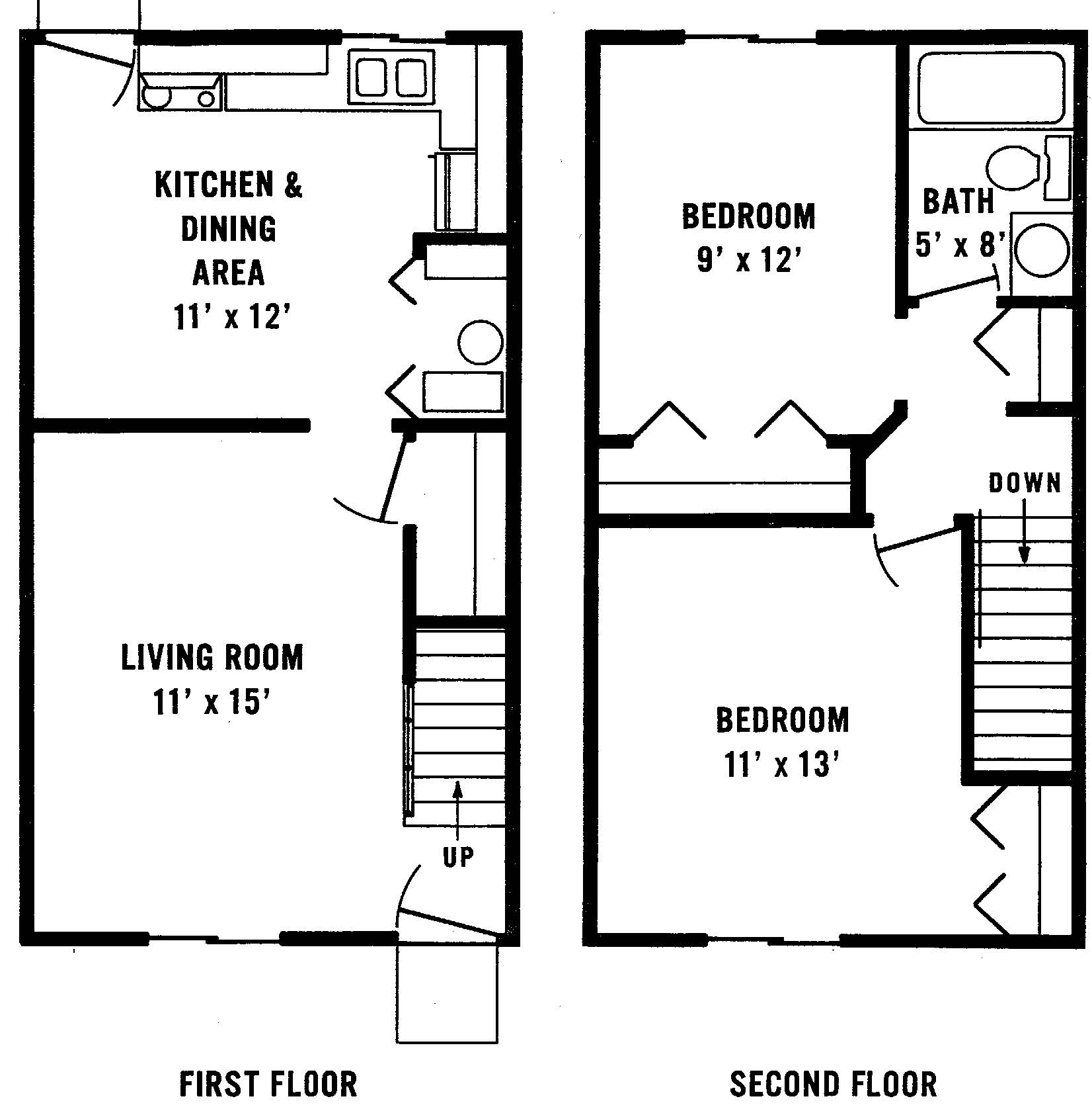 2 bedroom Barberton apartment floorplan